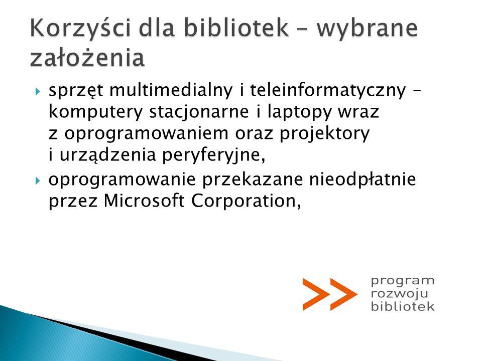 sprzęt multimedialny i teleinformatyczny – komputery stacjonarne i laptopy wraz z oprogramowaniem oraz projektory i urządzenia peryferyjne, oprogramow