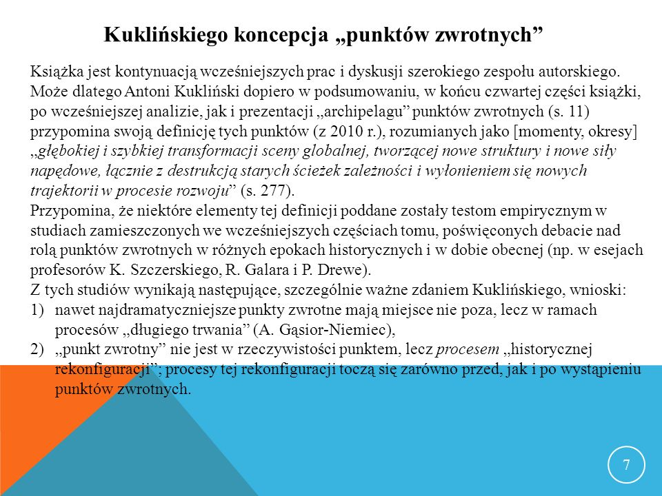 W eseju na wstępie pracy Antoni Kukliński formułuje tezę, że dwie ostatnie dekady, lata 1990-2010, są rzeczywistym końcem XX wieku, a wielowymiarowy (pentagonalny) globalny kryzys 2008- 2012 jest jednym z największych punktów przełomowych w ludzkiej historii, furtką do pełnego tajemnic i niepewności XXI wieku.