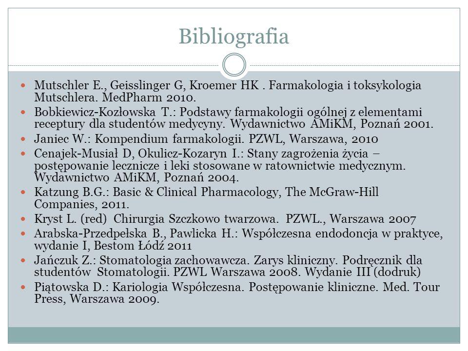 Bibliografia Mutschler E., Geisslinger G, Kroemer HK.