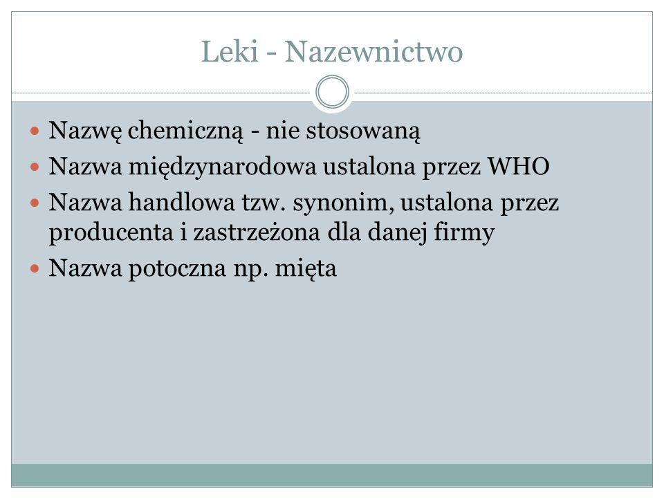 Leki - Nazewnictwo Nazwę chemiczną - nie stosowaną Nazwa międzynarodowa ustalona przez WHO Nazwa handlowa tzw.