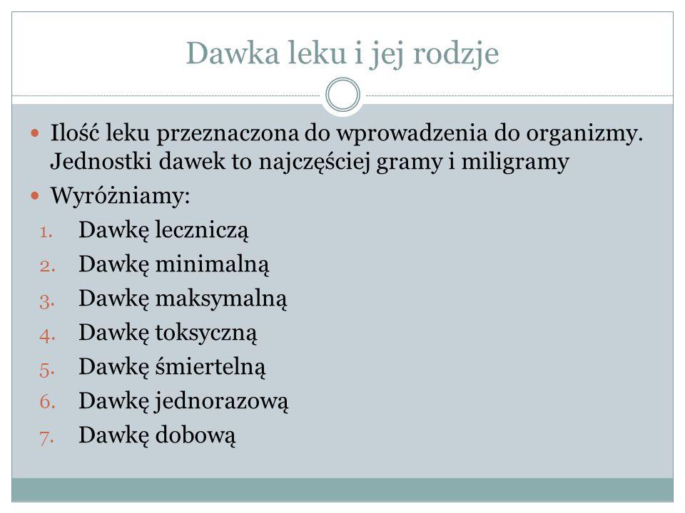 Dawka leku i jej rodzje Ilość leku przeznaczona do wprowadzenia do organizmy.