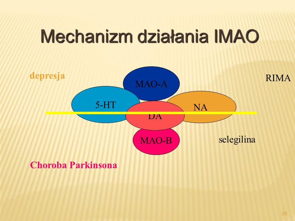 24 Inhibitory monoaminooxydazy (IMAO) Nieselektywne: phenelzyna, trancylpromina Selektywne: selegilina Selektywne, odwracalne inhibitory MAO A (RIMA):