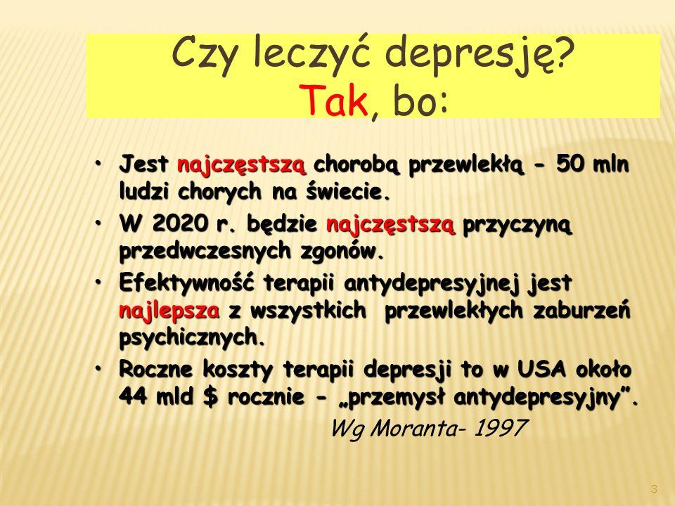 Terapia manii dawki Leczenie Pod- trzymujące dawki Lek PoczątkowaNiska docelowa Wysoka docelowa NiskaWysoka CBZ (mg) 400+-100600+-2001400+-400 CBZ (g/mL) 6,1+-2,612,6+-4,25,7+-1,510,8+-2,2 VAL (mg) 750+-375 2750+-1000 VAL (g/mL) 58,9+-14,9120+-16,656,6+-12109+-17 Lit (mg) 900+-300 2100+-600 Lit(mEq/L) 0,7+-0,11,2+-0,10,6+-0,11,1+-0,1 43