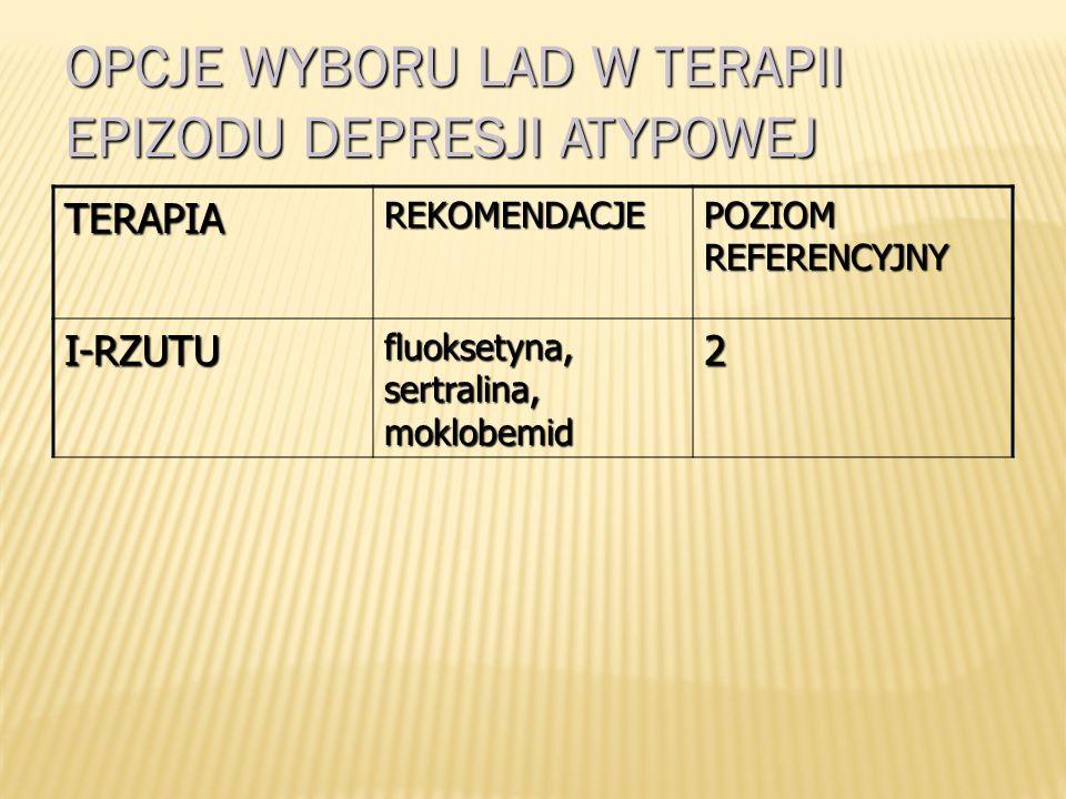TERAPIAREKOMENDACJE POZIOM REFERENCYJNY I-RZUTU SSRI (escytalopram*), SNRI**, agomelatyna, mirtazapina, bupropion 1