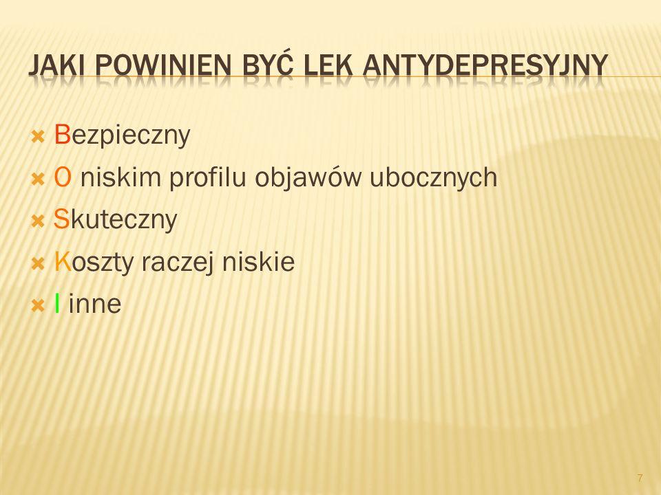 Selektywne inhibitory wychwytu zwrotnego serotoniny (SSRIs; SI-5-HT): Citalopram, Escitalopram Sertralina Paroksetyna Fluwoksamina Fluoksetyna 17