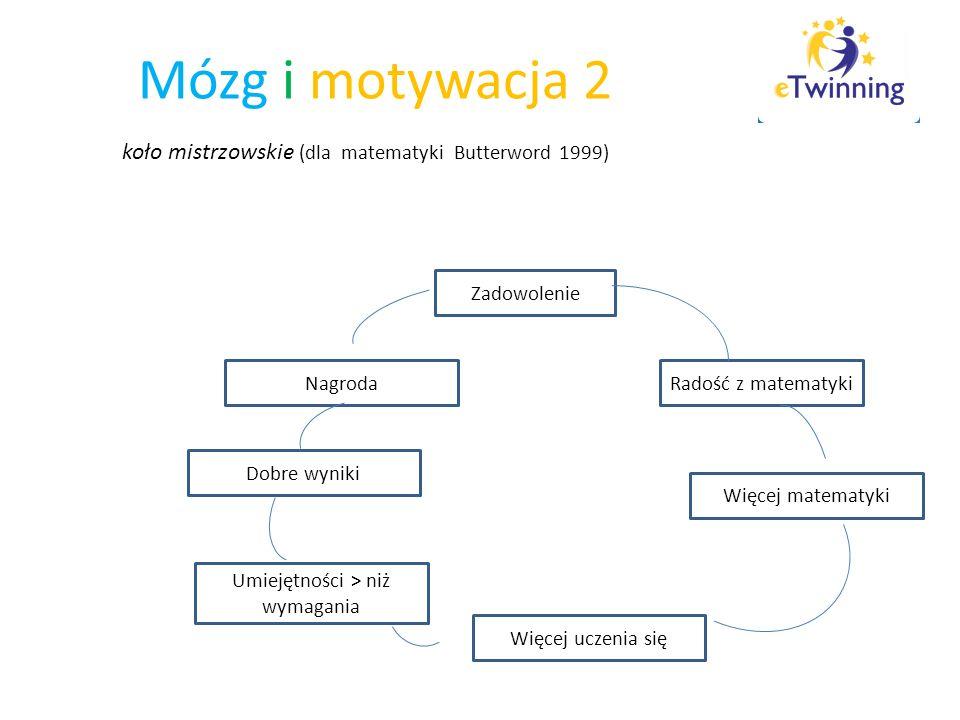 Mózg i motywacja 2 koło mistrzowskie (dla matematyki Butterword 1999) Zadowolenie Radość z matematyki Więcej matematyki Więcej uczenia się Umiejętnośc