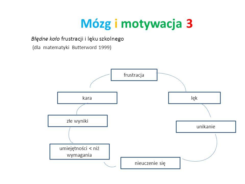 Mózg i motywacja 3 Błędne koło frustracji i lęku szkolnego (dla matematyki Butterword 1999) frustracja lęk unikanie nieuczenie się umiejętności < niż