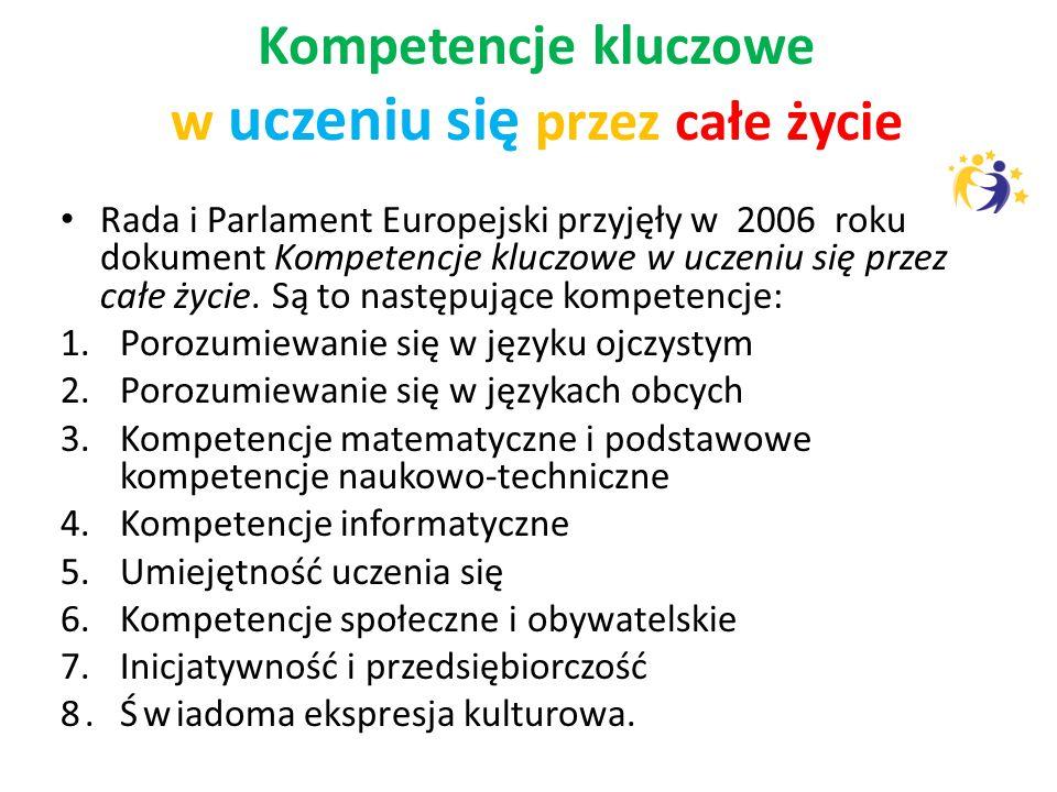 Kompetencje kluczowe w uczeniu się przez całe życie Rada i Parlament Europejski przyjęły w 2006 roku dokument Kompetencje kluczowe w uczeniu się przez