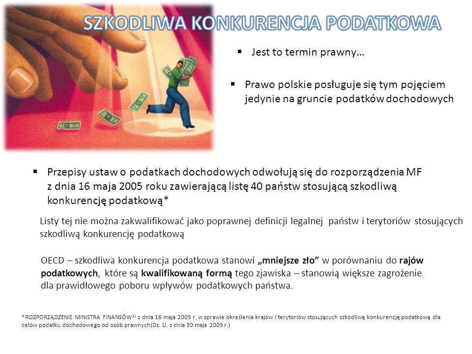 Jest to termin prawny… Prawo polskie posługuje się tym pojęciem jedynie na gruncie podatków dochodowych Przepisy ustaw o podatkach dochodowych odwołuj