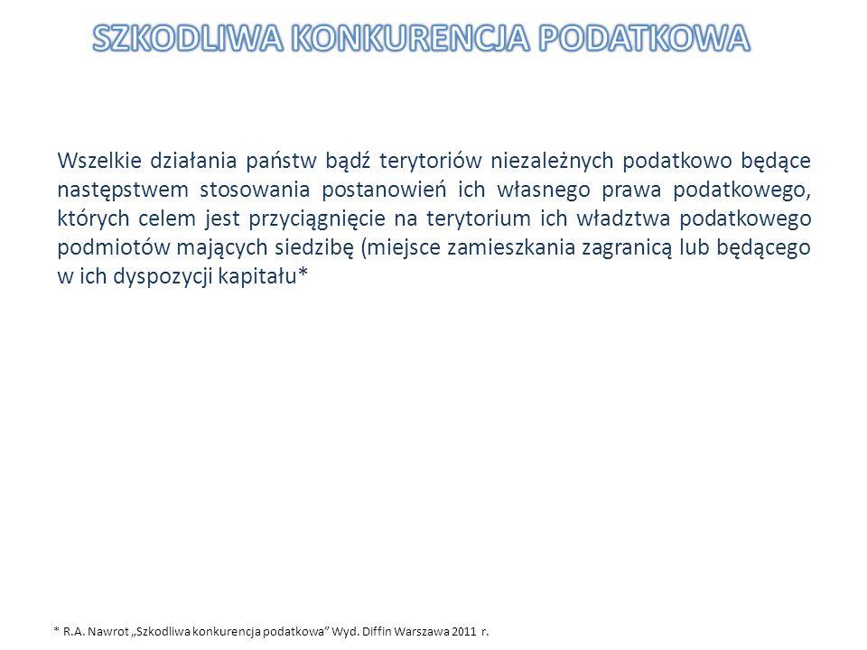 * R.A. Nawrot Szkodliwa konkurencja podatkowa Wyd. Diffin Warszawa 2011 r. Wszelkie działania państw bądź terytoriów niezależnych podatkowo będące nas