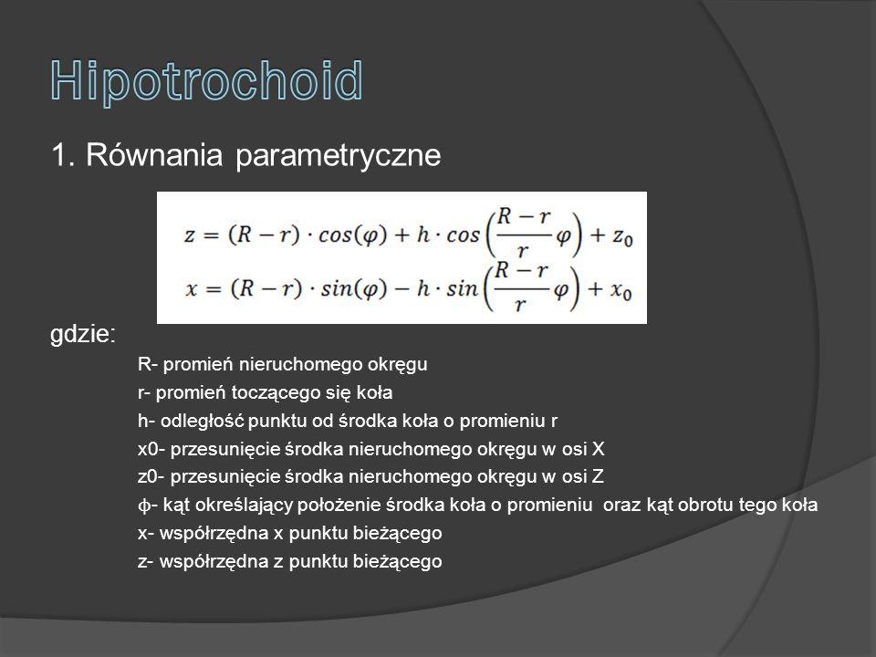 1. Równania parametryczne gdzie: R- promień nieruchomego okręgu r- promień toczącego się koła h- odległość punktu od środka koła o promieniu r x0- prz