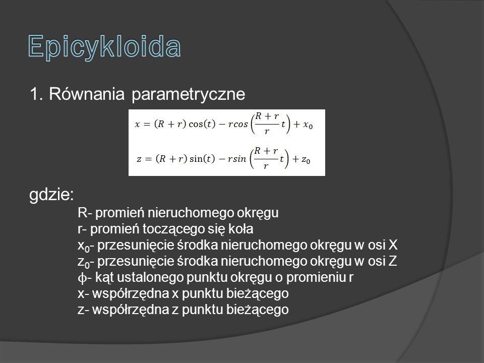 1. Równania parametryczne gdzie: R- promień nieruchomego okręgu r- promień toczącego się koła x 0 - przesunięcie środka nieruchomego okręgu w osi X z