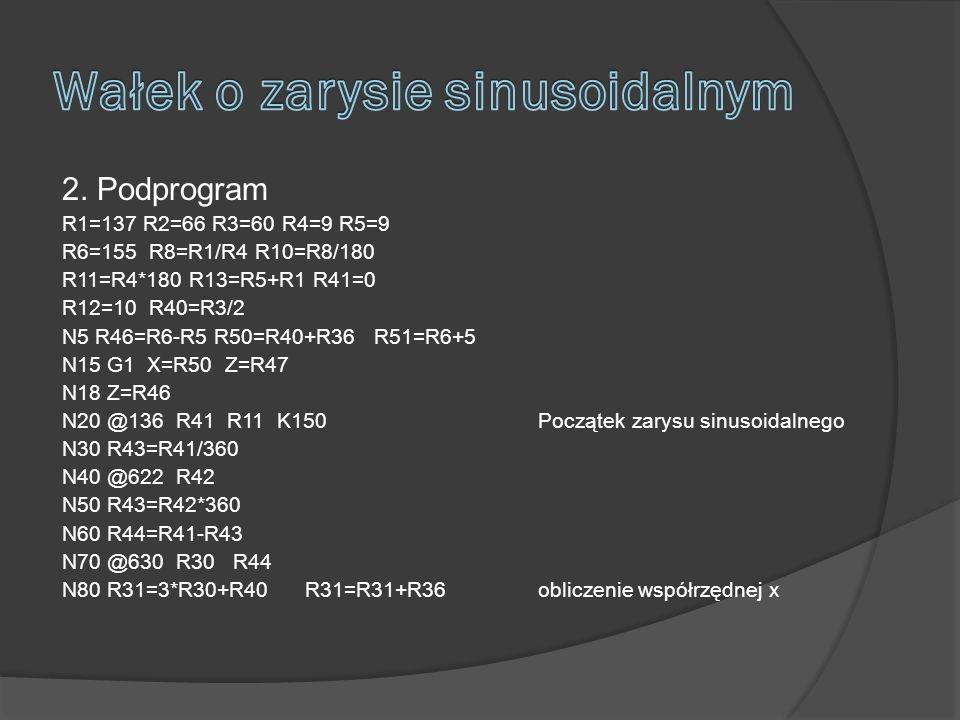 2. Podprogram R1=137 R2=66 R3=60 R4=9 R5=9 R6=155 R8=R1/R4 R10=R8/180 R11=R4*180 R13=R5+R1 R41=0 R12=10 R40=R3/2 N5 R46=R6-R5 R50=R40+R36 R51=R6+5 N15