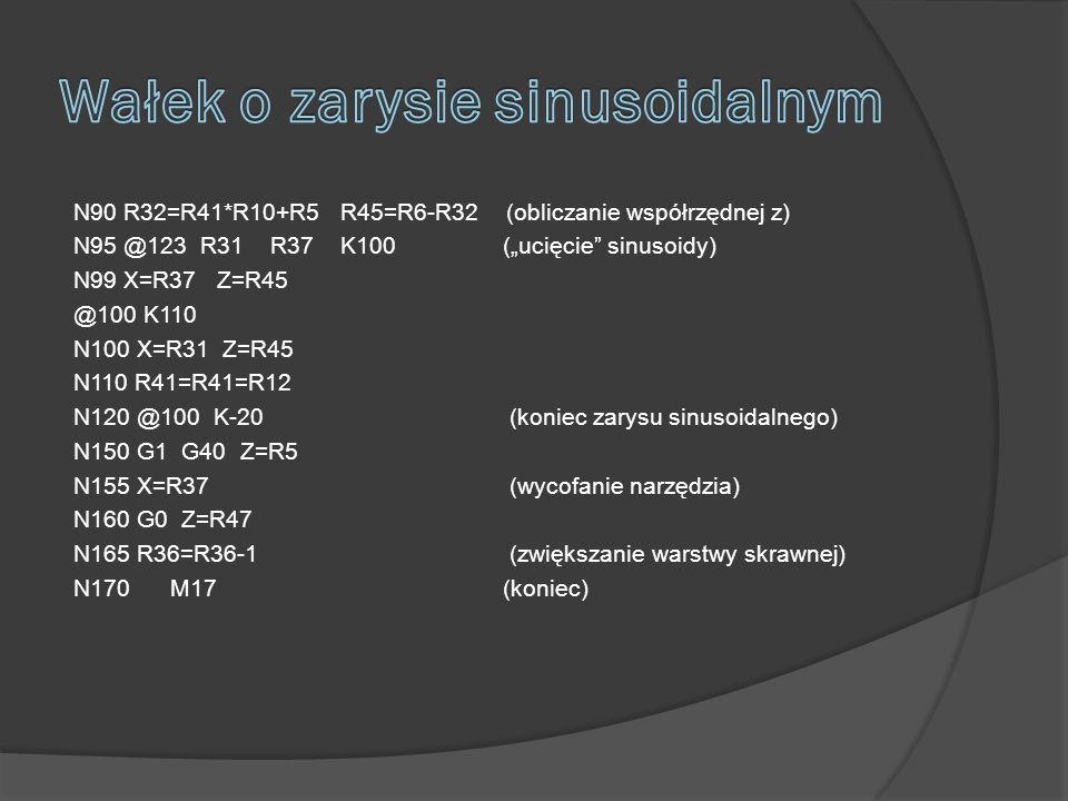 N90 R32=R41*R10+R5 R45=R6-R32 (obliczanie współrzędnej z) N95 @123 R31 R37 K100 (ucięcie sinusoidy) N99 X=R37 Z=R45 @100 K110 N100 X=R31 Z=R45 N110 R41=R41=R12 N120 @100 K-20 (koniec zarysu sinusoidalnego) N150 G1 G40 Z=R5 N155 X=R37 (wycofanie narzędzia) N160 G0 Z=R47 N165 R36=R36-1 (zwiększanie warstwy skrawnej) N170 M17 (koniec)