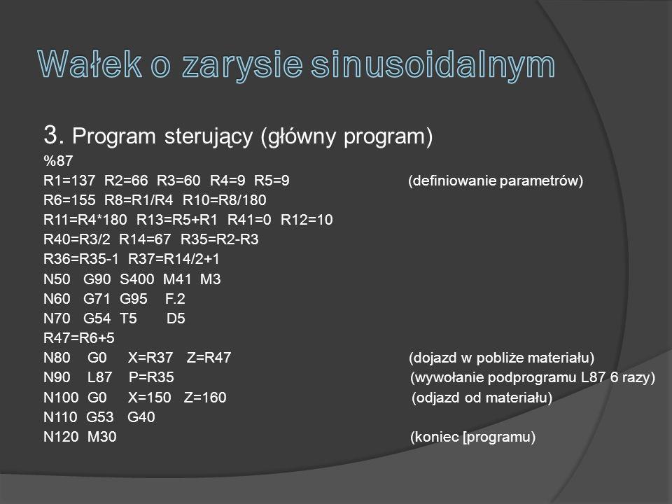 3. Program sterujący (główny program) %87 R1=137 R2=66 R3=60 R4=9 R5=9 (definiowanie parametrów) R6=155 R8=R1/R4 R10=R8/180 R11=R4*180 R13=R5+R1 R41=0