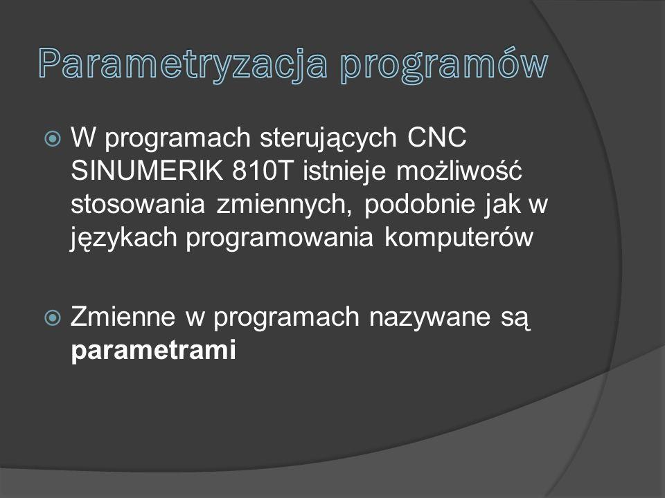 W programach sterujących CNC SINUMERIK 810T istnieje możliwość stosowania zmiennych, podobnie jak w językach programowania komputerów Zmienne w programach nazywane są parametrami