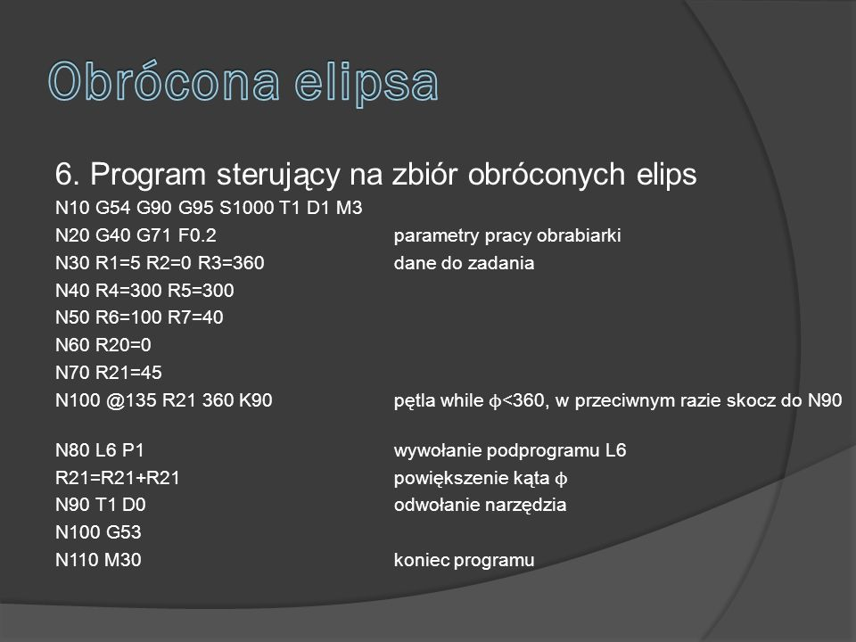 6. Program sterujący na zbiór obróconych elips N10 G54 G90 G95 S1000 T1 D1 M3 N20 G40 G71 F0.2parametry pracy obrabiarki N30 R1=5 R2=0 R3=360dane do z