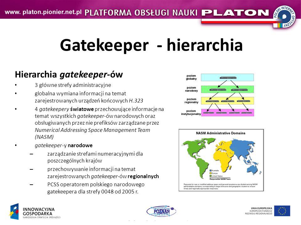Gatekeeper - hierarchia Hierarchia gatekeeper-ów 3 główne strefy administracyjne globalna wymiana informacji na temat zarejestrowanych urządzeń końcowych H.323 4 gatekeepery światowe przechowujące informacje na temat wszystkich gatekeeper-ów narodowych oraz obsługiwanych przez nie prefiksów zarządzane przez Numerical Addressing Space Management Team (NASM) gatekeeper-y narodowe – zarządzanie strefami numeracyjnymi dla poszczególnych krajów – przechowywanie informacji na temat zarejestrowanych gatekeeper-ów regionalnych – PCSS operatorem polskiego narodowego gatekeepera dla strefy 0048 od 2005 r.