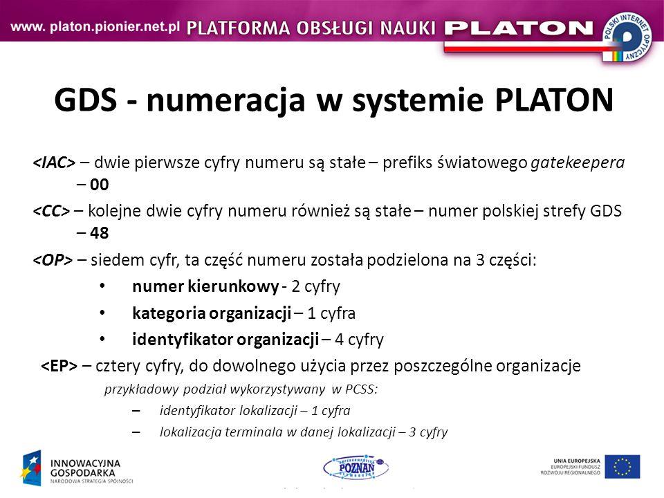 GDS - numeracja w systemie PLATON – dwie pierwsze cyfry numeru są stałe – prefiks światowego gatekeepera – 00 – kolejne dwie cyfry numeru również są stałe – numer polskiej strefy GDS – 48 – siedem cyfr, ta część numeru została podzielona na 3 części: numer kierunkowy - 2 cyfry kategoria organizacji – 1 cyfra identyfikator organizacji – 4 cyfry – cztery cyfry, do dowolnego użycia przez poszczególne organizacje przykładowy podział wykorzystywany w PCSS: – identyfikator lokalizacji – 1 cyfra – lokalizacja terminala w danej lokalizacji – 3 cyfry