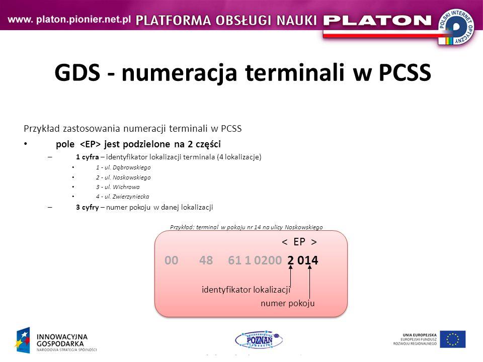 GDS - numeracja terminali w PCSS Przykład zastosowania numeracji terminali w PCSS pole jest podzielone na 2 części – 1 cyfra – identyfikator lokalizacji terminala (4 lokalizacje) 1 - ul.