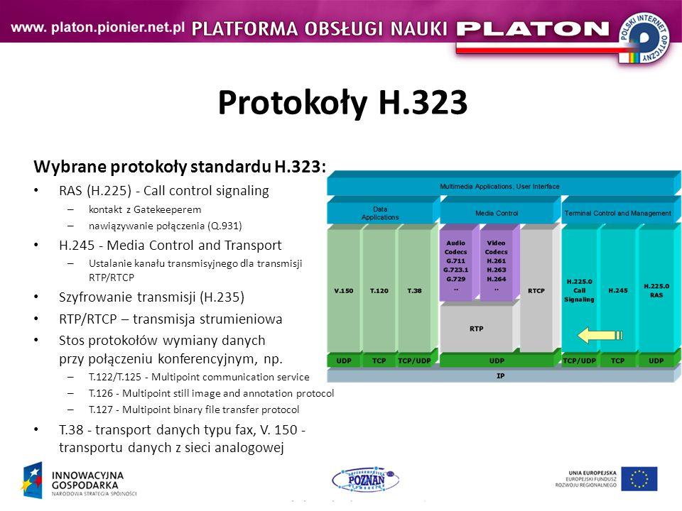 Protokoły H.323 Wybrane protokoły standardu H.323: RAS (H.225) - Call control signaling – kontakt z Gatekeeperem – nawiązywanie połączenia (Q.931) H.245 - Media Control and Transport – Ustalanie kanału transmisyjnego dla transmisji RTP/RTCP Szyfrowanie transmisji (H.235) RTP/RTCP – transmisja strumieniowa Stos protokołów wymiany danych przy połączeniu konferencyjnym, np.