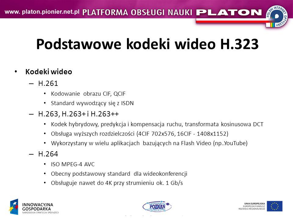 Podstawowe kodeki wideo H.323 Kodeki wideo – H.261 Kodowanie obrazu CIF, QCIF Standard wywodzący się z ISDN – H.263, H.263+ i H.263++ Kodek hybrydowy, predykcja i kompensacja ruchu, transformata kosinusowa DCT Obsługa wyższych rozdzielczości (4CIF 702x576, 16CIF - 1408x1152) Wykorzystany w wielu aplikacjach bazujących na Flash Video (np..YouTube) – H.264 ISO MPEG-4 AVC Obecny podstawowy standard dla wideokonferencji Obsługuje nawet do 4K przy strumieniu ok.