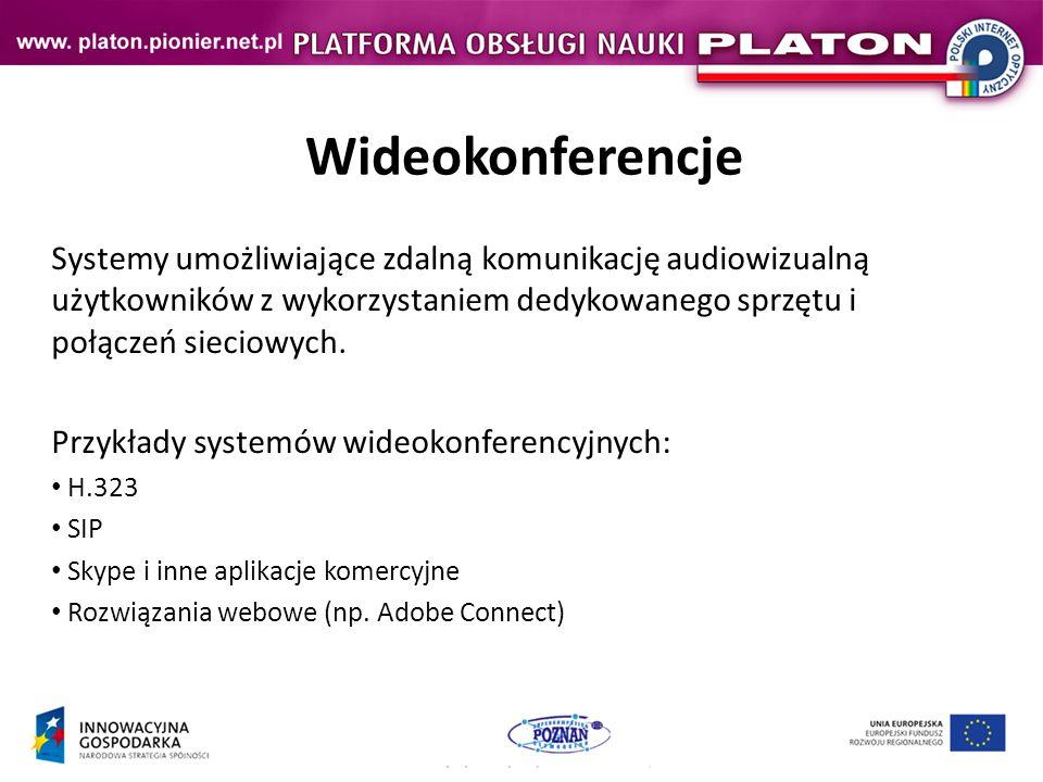 Darmowe aplikacje VC Ekiga – Rozdzielczość:352 x 288 (CIF), 25 fps, do 1,5 Mbps – System operacyjny:Linux / Windows (do Windows 7) – Sieć:SIP / H.323 XMeeting – System operacyjny:Mac OS – Sieć:SIP / H.323 PacPhone – System operacyjny:Windows (do Windows Vista) – Sieć:H.323 Microsoft NetMeeting – System operacyjny:Windows (do Windows XP, jako dodatek do Windows Vista) – Sieć:H.323 Próbne wersje demonstracyjne programów komercyjnych Skype Linki: Ekiga http://ekiga.org/http://ekiga.org/ Xmeeting http://xmeeting.sourceforge.net/pages/index.phphttp://xmeeting.sourceforge.net/pages/index.php PacPhone http://www.pacphone.com/http://www.pacphone.com/
