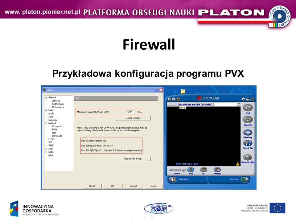Firewall Przykładowa konfiguracja programu PVX