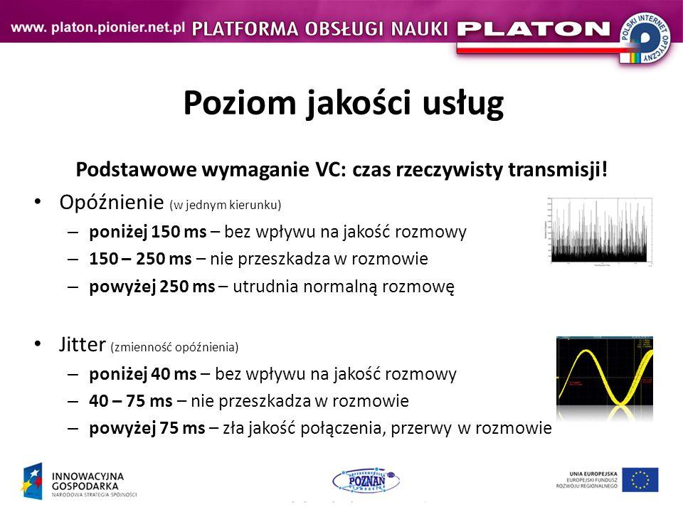 Poziom jakości usług Podstawowe wymaganie VC: czas rzeczywisty transmisji.