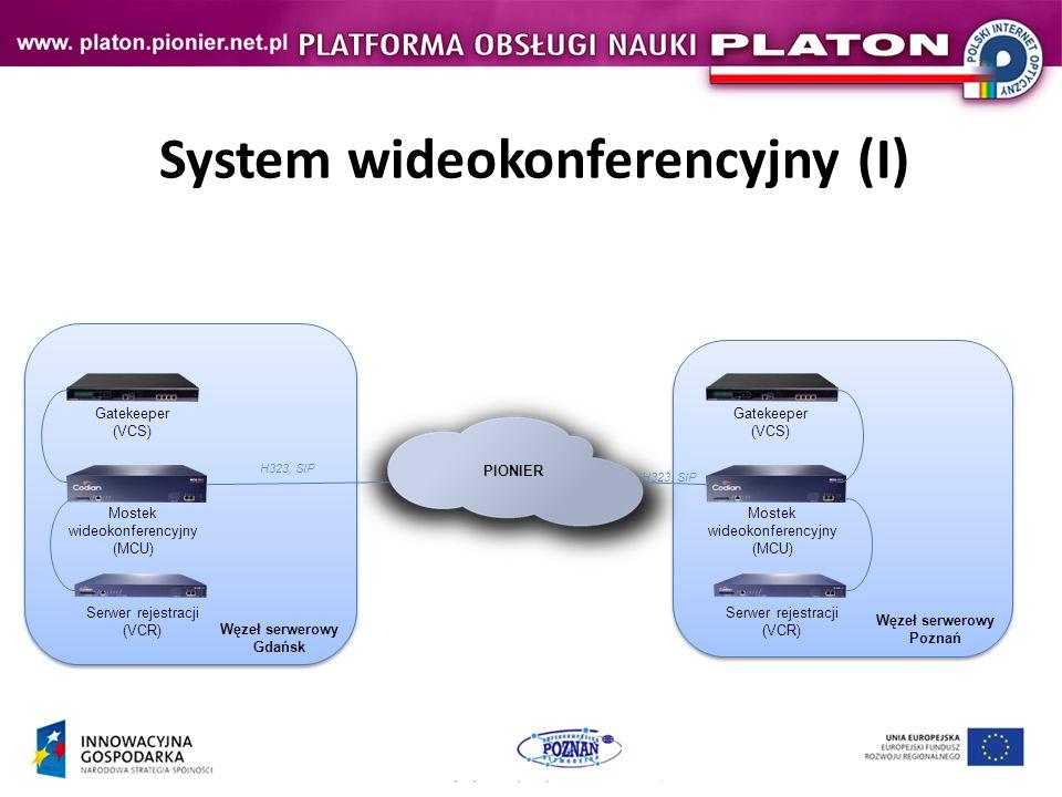 System wideokonferencyjny (I) Mostek wideokonferencyjny (MCU) Gatekeeper (VCS) Serwer rejestracji (VCR) PIONIER Mostek wideokonferencyjny (MCU) Gatekeeper (VCS) Serwer rejestracji (VCR) H323, SIP Węzeł serwerowy Gdańsk Węzeł serwerowy Poznań