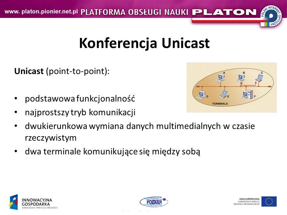 Konferencja Unicast Unicast (point-to-point): podstawowa funkcjonalność najprostszy tryb komunikacji dwukierunkowa wymiana danych multimedialnych w czasie rzeczywistym dwa terminale komunikujące się między sobą
