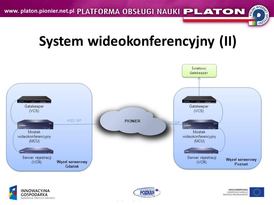 System wideokonferencyjny (II) Mostek wideokonferencyjny (MCU) Gatekeeper (VCS) Serwer rejestracji (VCR) PIONIER Mostek wideokonferencyjny (MCU) Gatekeeper (VCS) Serwer rejestracji (VCR) Światowy Gatekeeper Światowy Gatekeeper H323, SIP Węzeł serwerowy Gdańsk Węzeł serwerowy Poznań