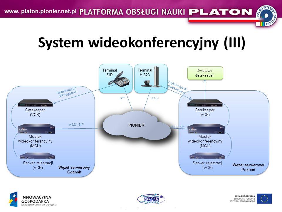 System wideokonferencyjny (III) Mostek wideokonferencyjny (MCU) Gatekeeper (VCS) Serwer rejestracji (VCR) PIONIER Mostek wideokonferencyjny (MCU) Gatekeeper (VCS) Serwer rejestracji (VCR) Światowy Gatekeeper Światowy Gatekeeper Terminal H.323 Terminal SIP Rejestracja do SIP registrar H323, SIP Rejestracja do gatekeepera SIPH323 Węzeł serwerowy Gdańsk Węzeł serwerowy Poznań