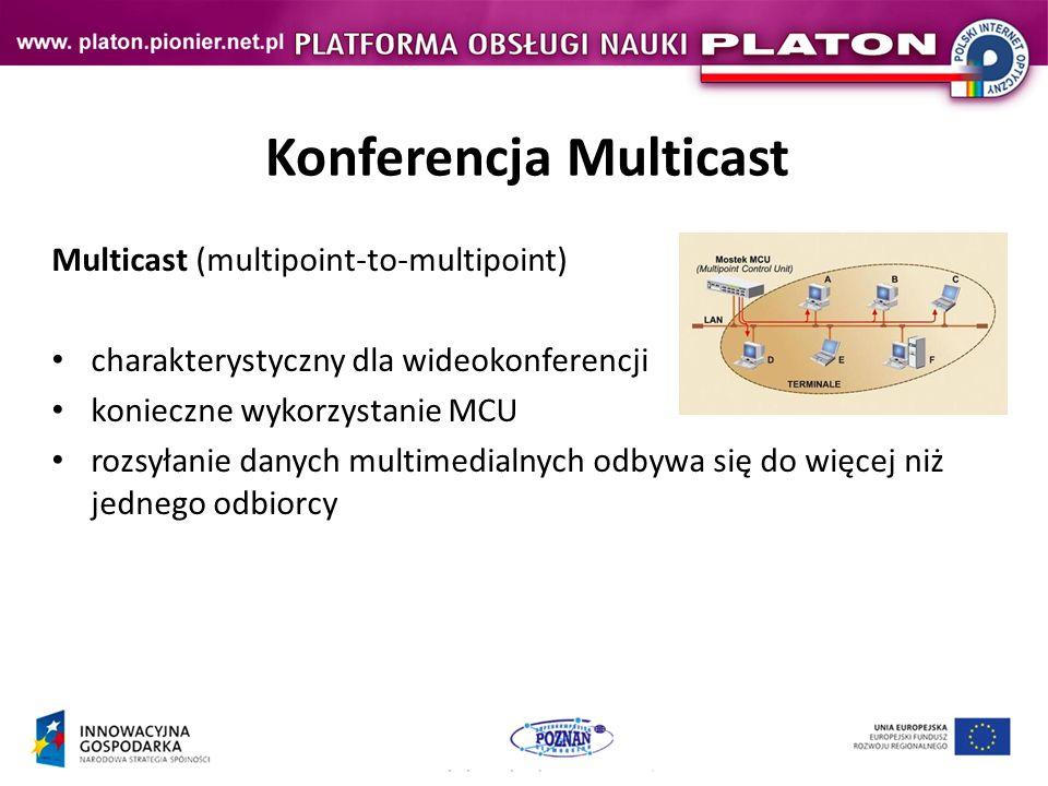 Konferencja Multicast Multicast (multipoint-to-multipoint) charakterystyczny dla wideokonferencji konieczne wykorzystanie MCU rozsyłanie danych multimedialnych odbywa się do więcej niż jednego odbiorcy