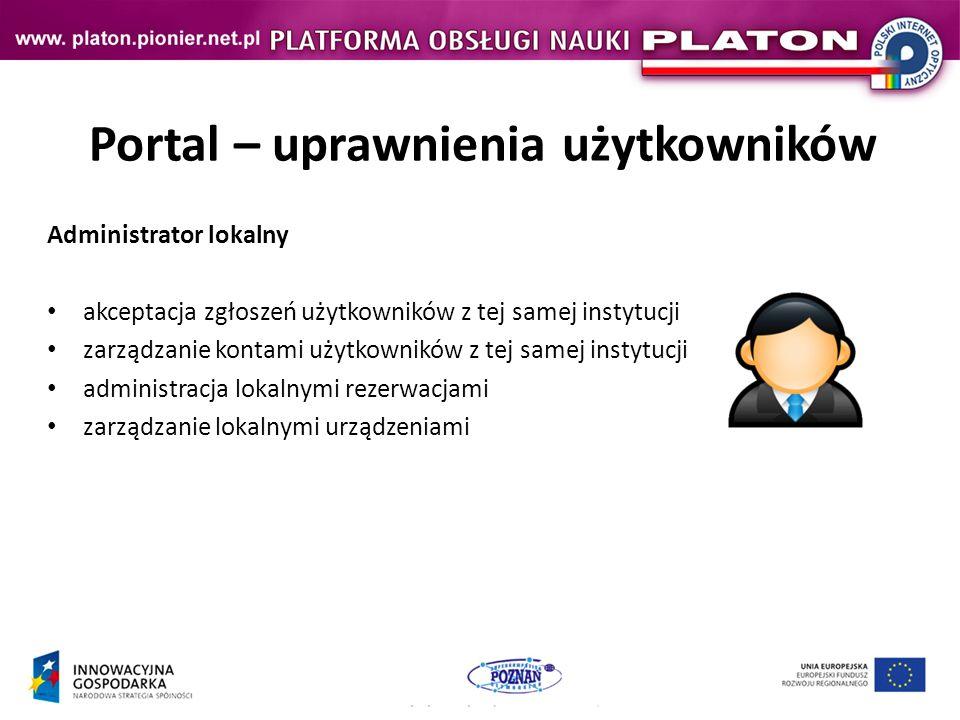 Portal – uprawnienia użytkowników Administrator lokalny akceptacja zgłoszeń użytkowników z tej samej instytucji zarządzanie kontami użytkowników z tej samej instytucji administracja lokalnymi rezerwacjami zarządzanie lokalnymi urządzeniami