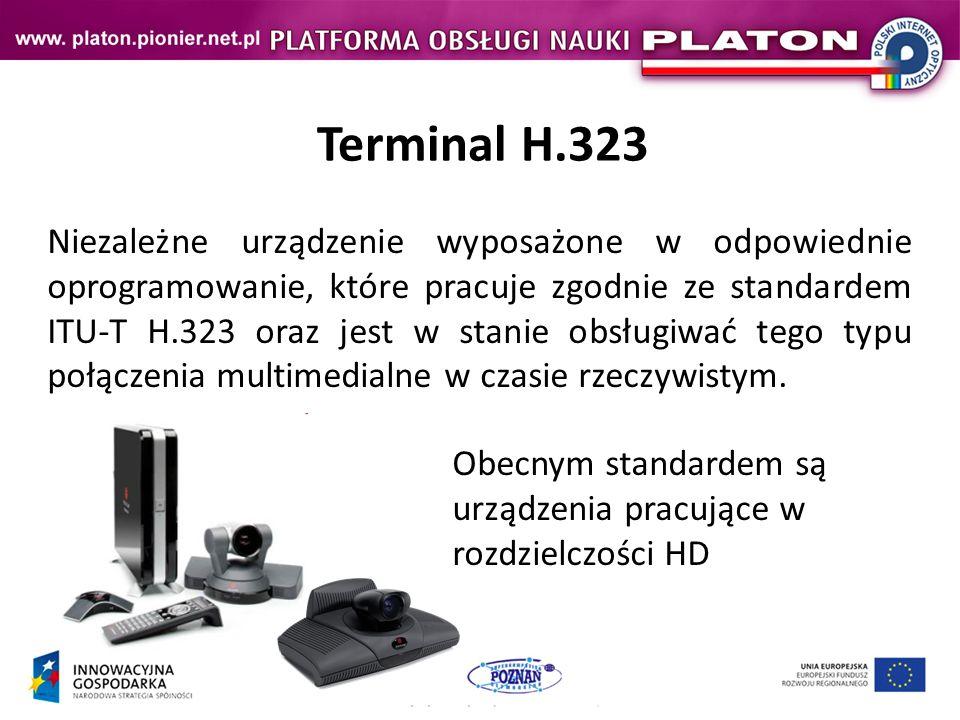 Połączenie H.323 (II) Terminal 1Terminal 2 Sprawdzenie możliwości przeprowadzenia transmisji – Terminal Capability Set, Ustalenie terminala nadrzędnego i podrzędnego – Master/Slave Determination H.225 (RAS) (protokół GK-EP) Q.931 (Kontrola połączenia) H.245 (Kontrola Transmisji) Przesłanie komunikatów wraz z potwierdzeniami Termilan Capability Set + Ack Master/Slave Determination + Ack Przesłanie potwierdzeń Termilan Capability Set Ack Master/Slave Determination Ack Otwarcie kanału transmisyjnego – Open Logical Channel Przesłanie komunikatu wraz z potwierdzeniami Open Logical Channel + Ack Przesłanie potwierdzenia Open Logical Channel Ack Transmisja RTP (wideo + audio)