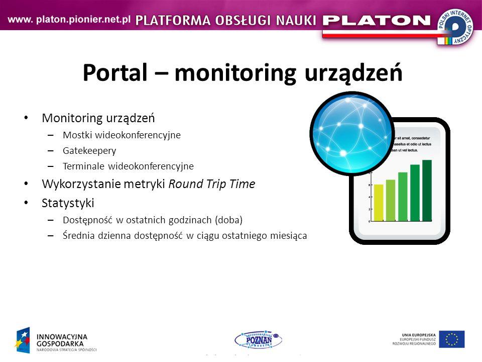 Portal – monitoring urządzeń Monitoring urządzeń – Mostki wideokonferencyjne – Gatekeepery – Terminale wideokonferencyjne Wykorzystanie metryki Round Trip Time Statystyki – Dostępność w ostatnich godzinach (doba) – Średnia dzienna dostępność w ciągu ostatniego miesiąca