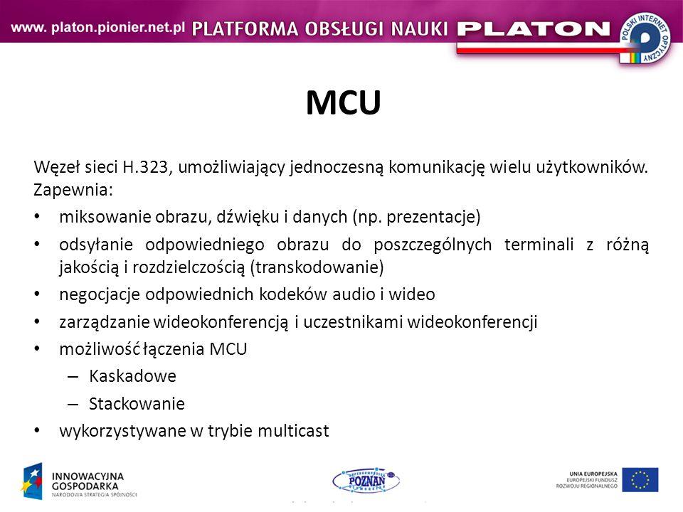 Wybrane urządzenia HD LifeSize Room 220 Rozdzielczość: 1080p, 30fps (720p, 60fps) Drugi strumień (H.239): Wspiera wiele trybów transmisji dwóch strumieni: 1080p30 i 720p5 720p60 i 720p5 720p30 i 720p30 Sieć: H.323 i/lub SIP do 8 Mbps (point-to-point) Wbudowany MCU (do 4 stron wideo): 128Kbps – 2Mbps Wejście telefoniczne Wejścia/wyjścia: 2 kamery, laptop, rzutnik, 2 telewizory Cena: ~ 17 000 $ Link: http://www.323.tv/products/video-conferencing/conference-room/lifesize-room220/lifesize-room220/datasheethttp://www.323.tv/products/video-conferencing/conference-room/lifesize-room220/lifesize-room220/datasheet