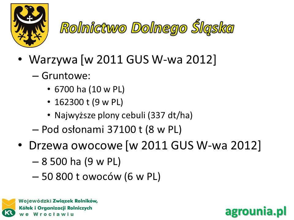 Warzywa [w 2011 GUS W-wa 2012] – Gruntowe: 6700 ha (10 w PL) 162300 t (9 w PL) Najwyższe plony cebuli (337 dt/ha) – Pod osłonami 37100 t (8 w PL) Drze