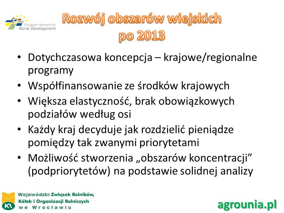 Dotychczasowa koncepcja – krajowe/regionalne programy Współfinansowanie ze środków krajowych Większa elastyczność, brak obowiązkowych podziałów według