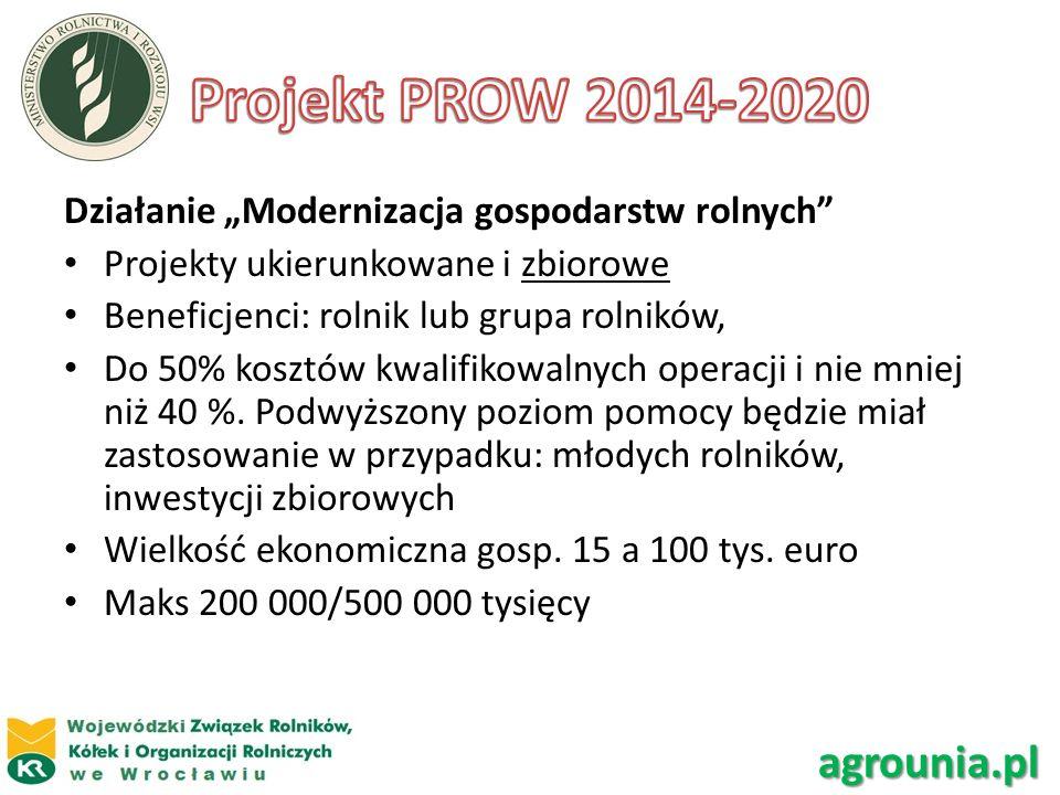 Działanie Modernizacja gospodarstw rolnych Projekty ukierunkowane i zbiorowe Beneficjenci: rolnik lub grupa rolników, Do 50% kosztów kwalifikowalnych
