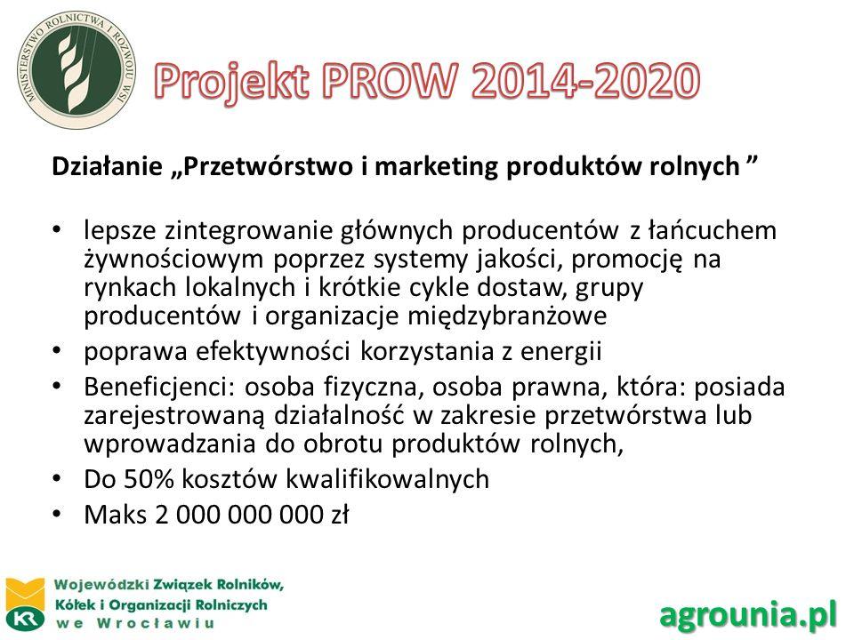 Działanie Przetwórstwo i marketing produktów rolnych lepsze zintegrowanie głównych producentów z łańcuchem żywnościowym poprzez systemy jakości, promo