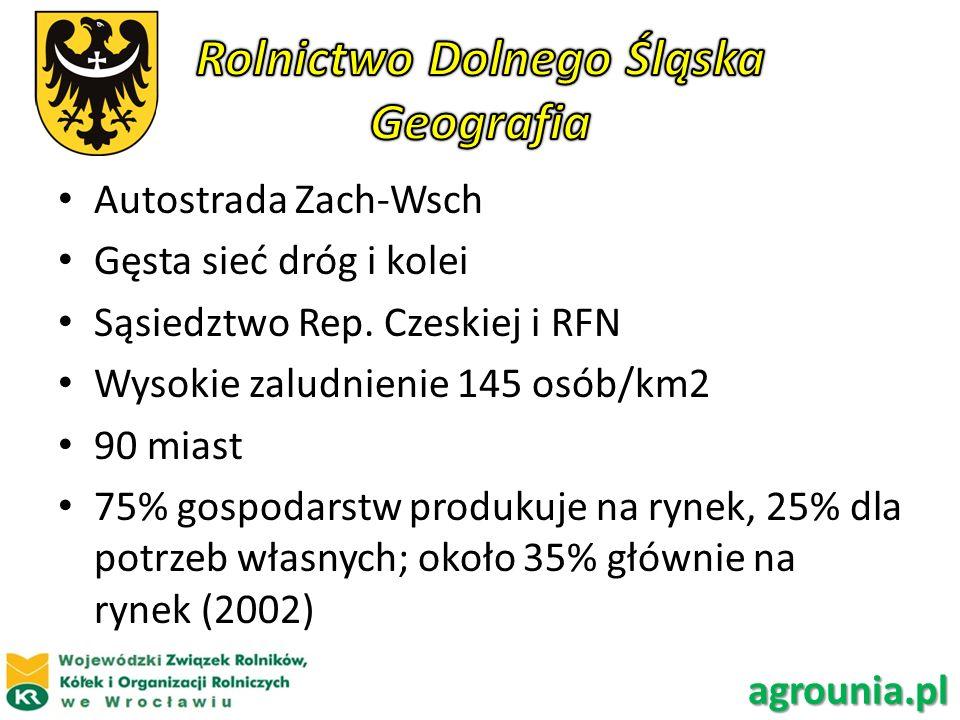 Autostrada Zach-Wsch Gęsta sieć dróg i kolei Sąsiedztwo Rep. Czeskiej i RFN Wysokie zaludnienie 145 osób/km2 90 miast 75% gospodarstw produkuje na ryn