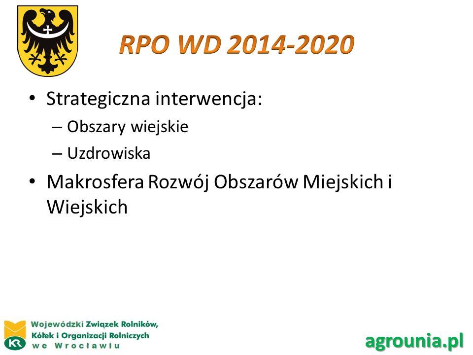 Strategiczna interwencja: – Obszary wiejskie – Uzdrowiska Makrosfera Rozwój Obszarów Miejskich i Wiejskich agrounia.pl