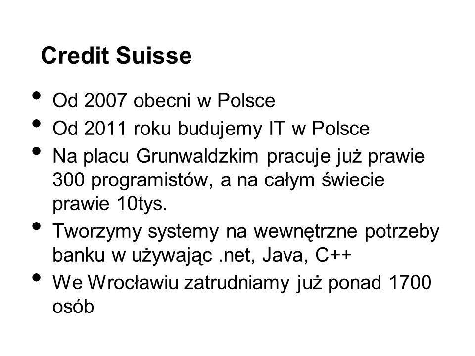 Credit Suisse Od 2007 obecni w Polsce Od 2011 roku budujemy IT w Polsce Na placu Grunwaldzkim pracuje już prawie 300 programistów, a na całym świecie prawie 10tys.