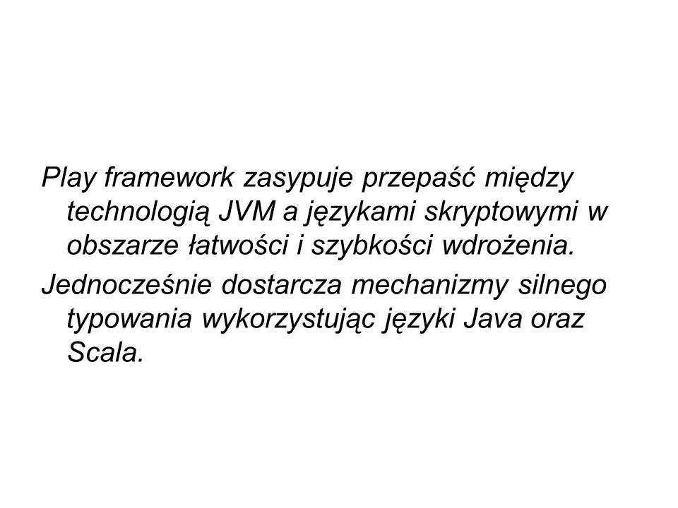 Play framework zasypuje przepaść między technologią JVM a językami skryptowymi w obszarze łatwości i szybkości wdrożenia.
