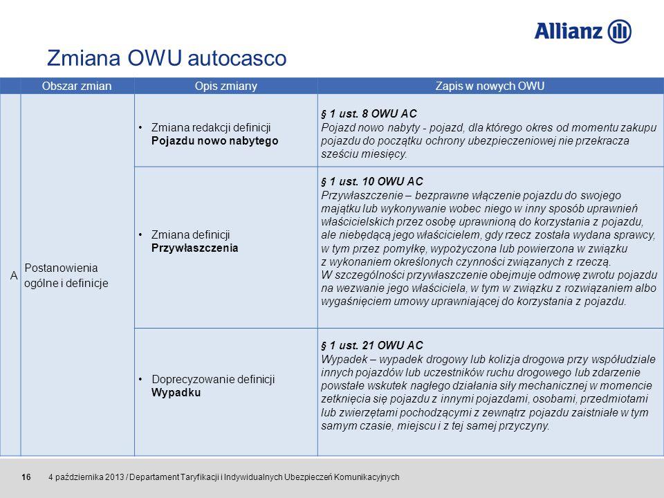 © Allianz SE 2011 4 października 2013 / Departament Taryfikacji i Indywidualnych Ubezpieczeń Komunikacyjnych 16 Obszar zmian Opis zmianyZapis w nowych