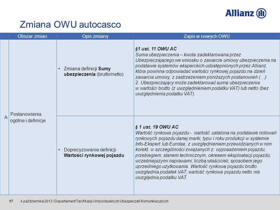 © Allianz SE 2011 4 października 2013 / Departament Taryfikacji i Indywidualnych Ubezpieczeń Komunikacyjnych 17 Obszar zmianOpis zmianyZapis w nowych