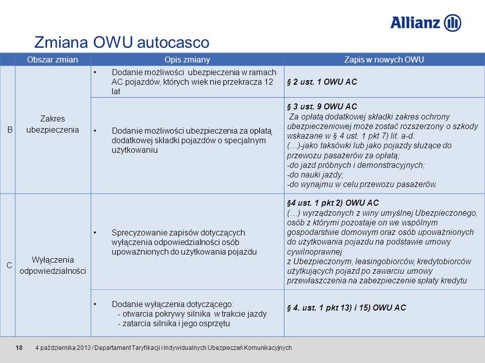 © Allianz SE 2011 4 października 2013 / Departament Taryfikacji i Indywidualnych Ubezpieczeń Komunikacyjnych 18 Obszar zmian Opis zmiany Zapis w nowyc