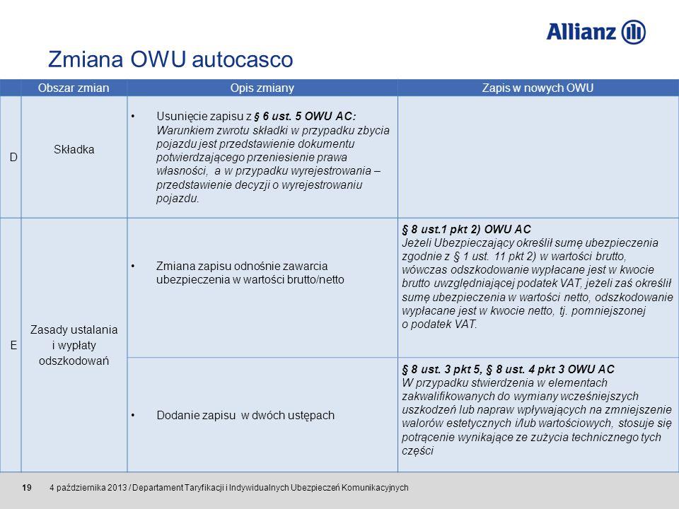© Allianz SE 2011 4 października 2013 / Departament Taryfikacji i Indywidualnych Ubezpieczeń Komunikacyjnych 19 Obszar zmianOpis zmianyZapis w nowych